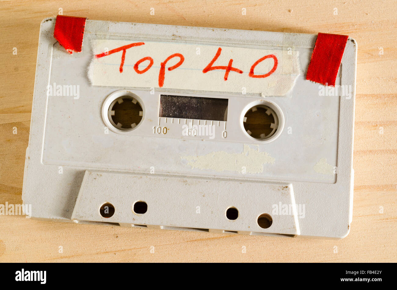 Audio Cassette Tape containing songs recorded from the weekly Sunday Night Top 40 Music Chart Show - Stock Image