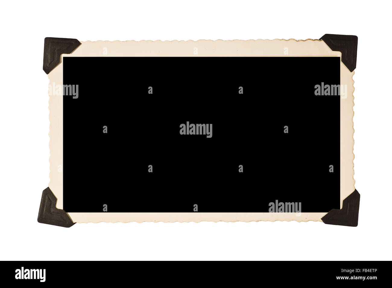 Rectangular Old Picture Frame With Photo Corners - Stock Image
