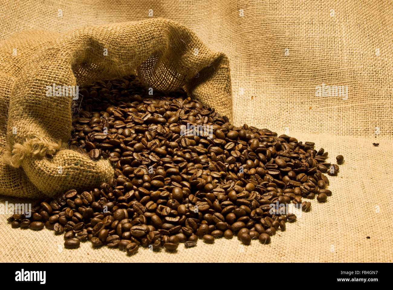 Spilled Bag of Coffee Beans - Stock Image