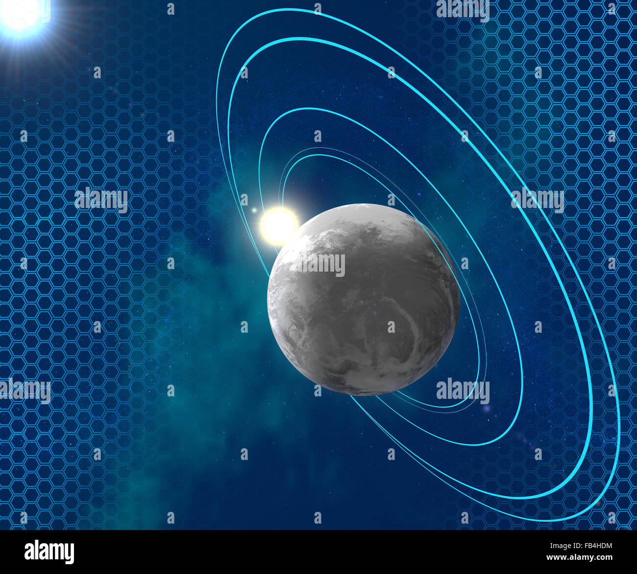 Planet surrounded by orbital rings blue, space, science fiction - Stock Image