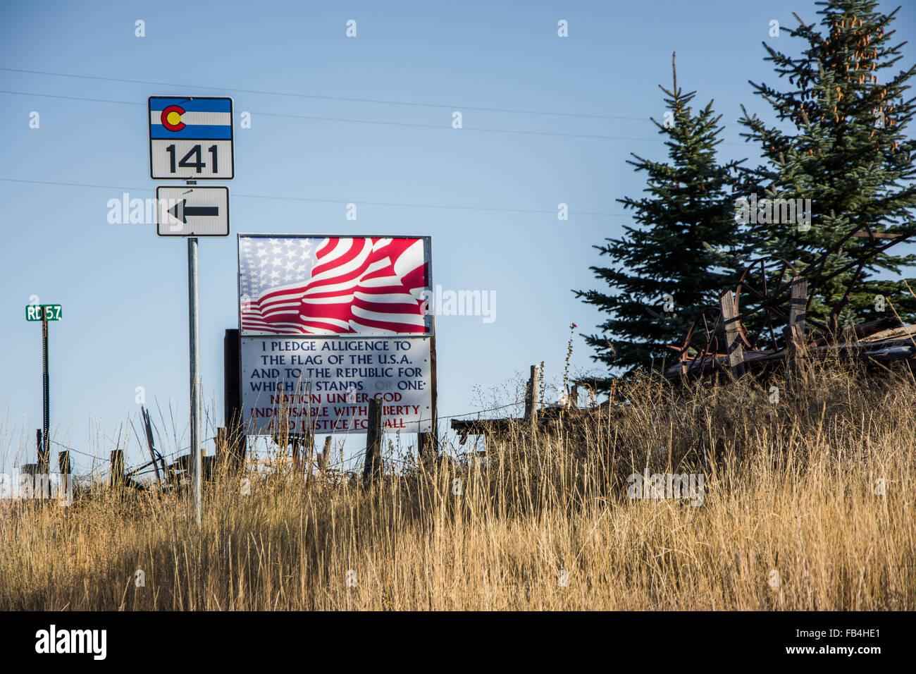 Roadside Pledge of Allegiance/ patriotism in Southwestern, Colorado, USA - Stock Image
