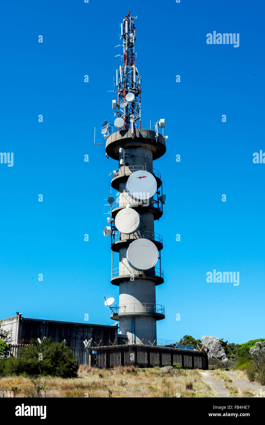 Telecommunications mast on top of the Drakonsberg Mountains, South Africa - Stock Image
