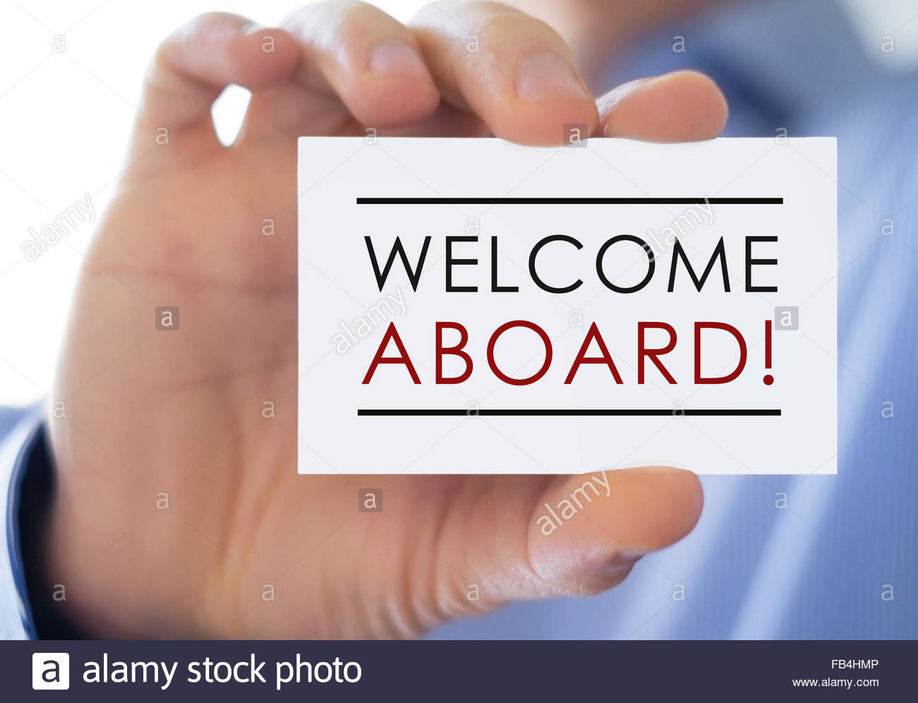Welcome Aboard - business card - Stock Image