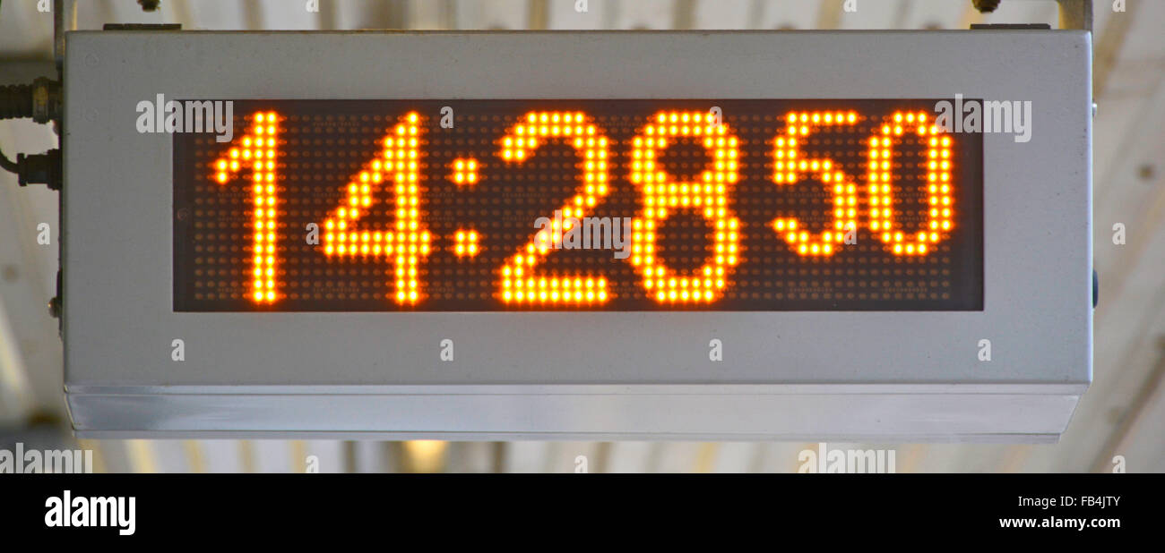 Close up of a modern railway station digital clock Essex England UK - Stock Image