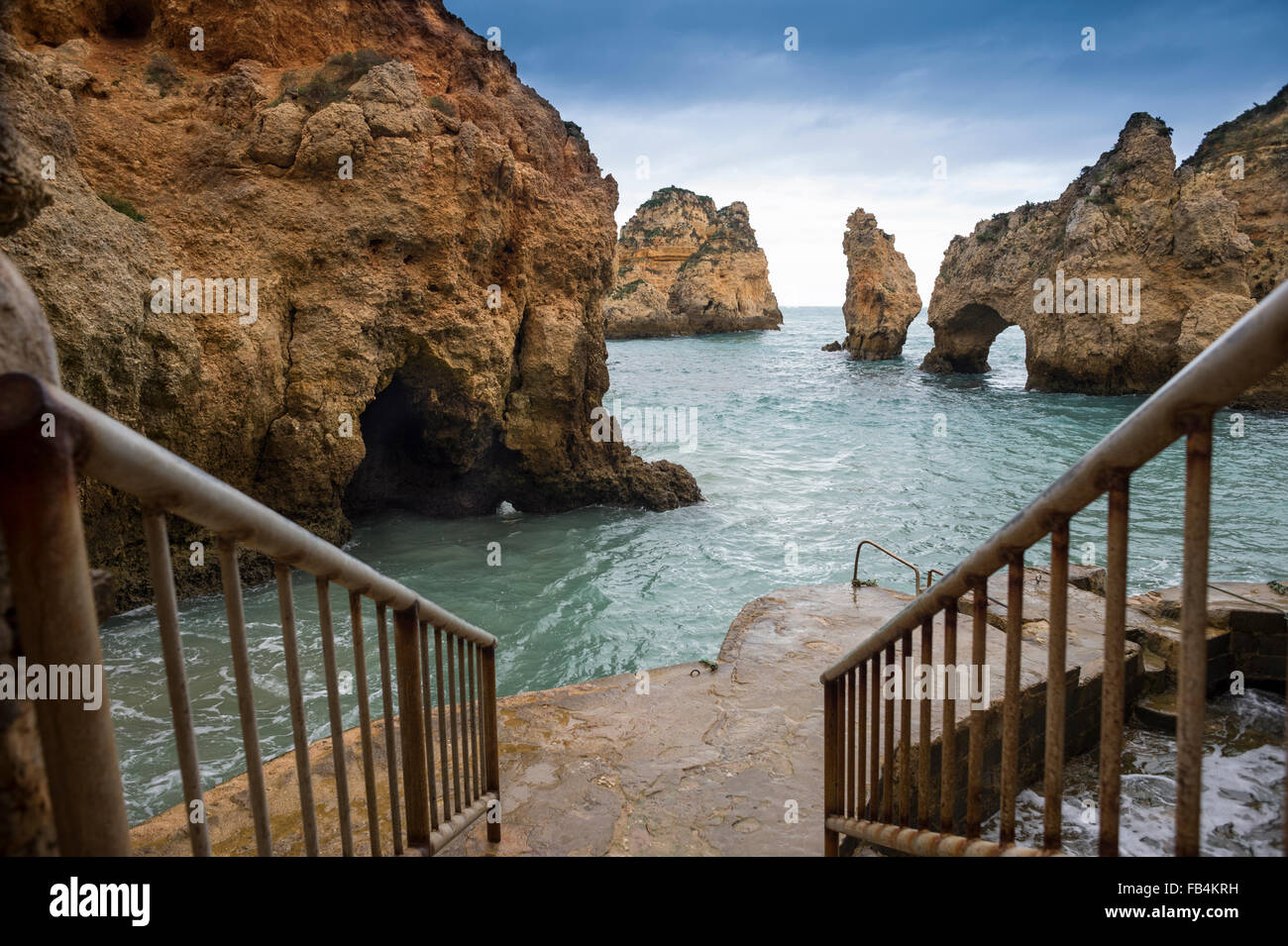 Ponta da Piedade Grottos at Lagos in the western Algarve, Portugal. - Stock Image