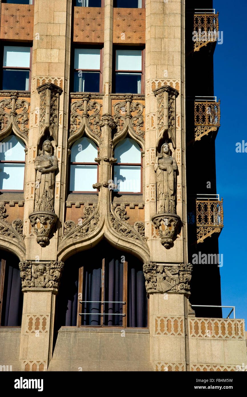Architectural detail of the Ace Hotel in Downtown Los Angeles, CA - Stock Image