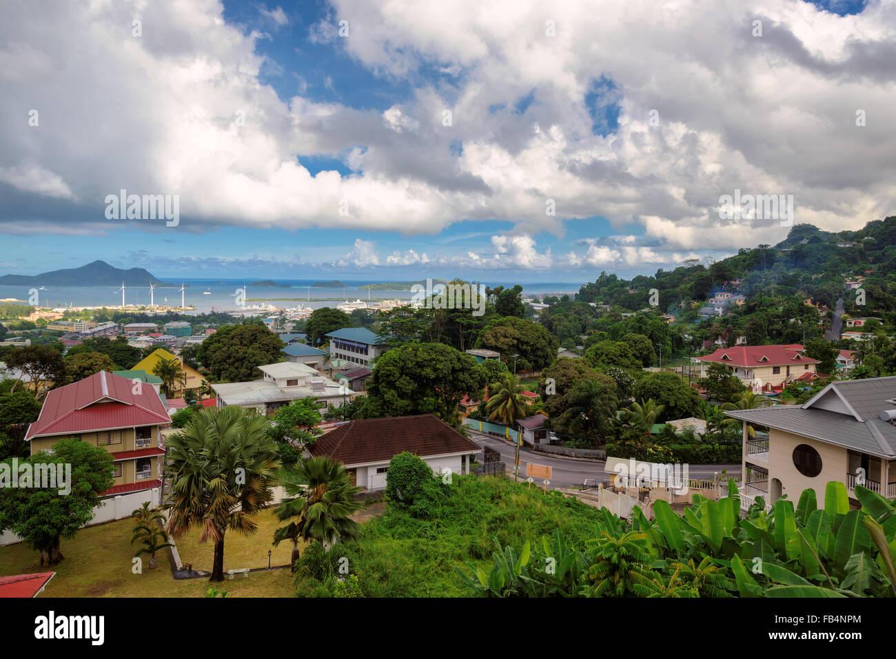 Aerial view of Mahe coastline, Victoria, Seychelles - Stock Image