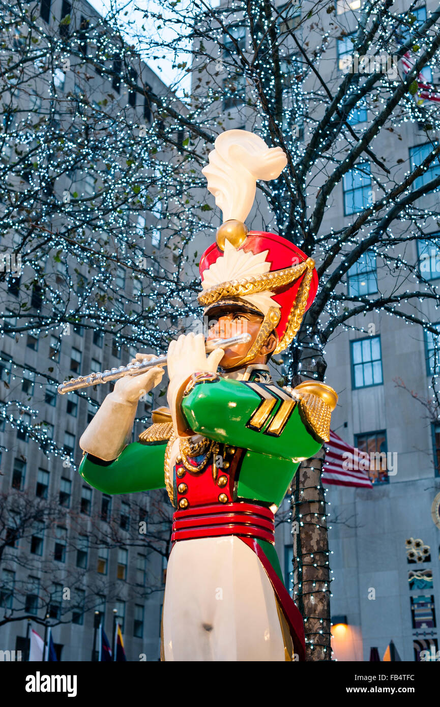 Toy Soldier Statue Christmas Decoration Rockefeller Plaza - Stock Image