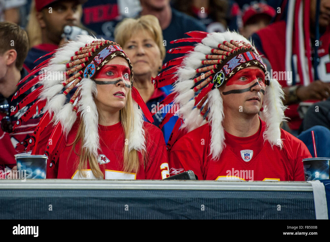 Houston, Texas, USA. 9th Jan, 2016. Kansas City Chiefs fans are dressed in Native American headresses during the Stock Photo