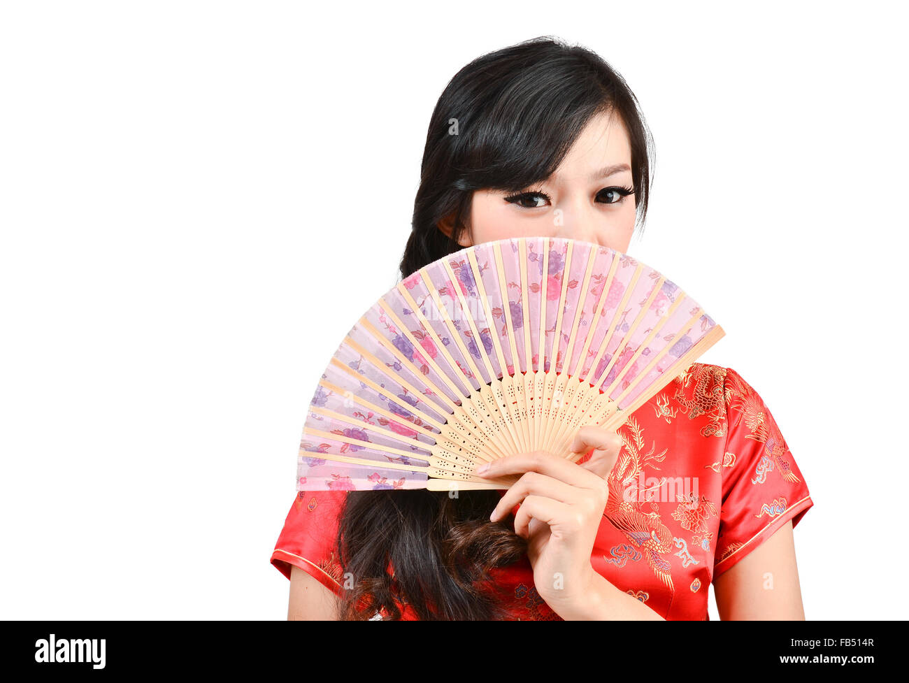 e0fc41d82 pretty women with Chinese traditional dress Cheongsam and hole Chinese Fan  on white background