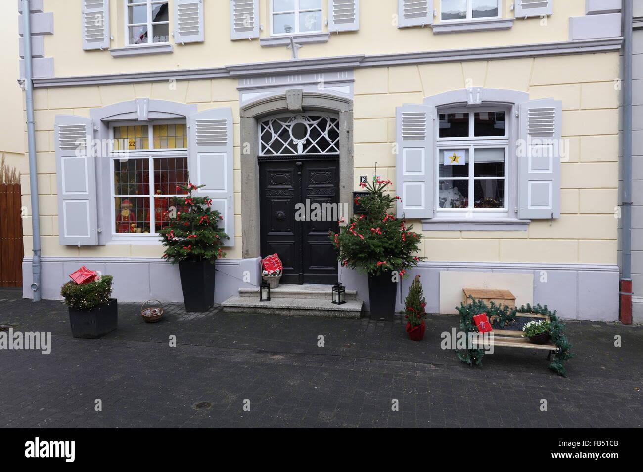 House in Zons, Northrhine Westphalia, NRW, Germany with christmas decoration - Stock Image