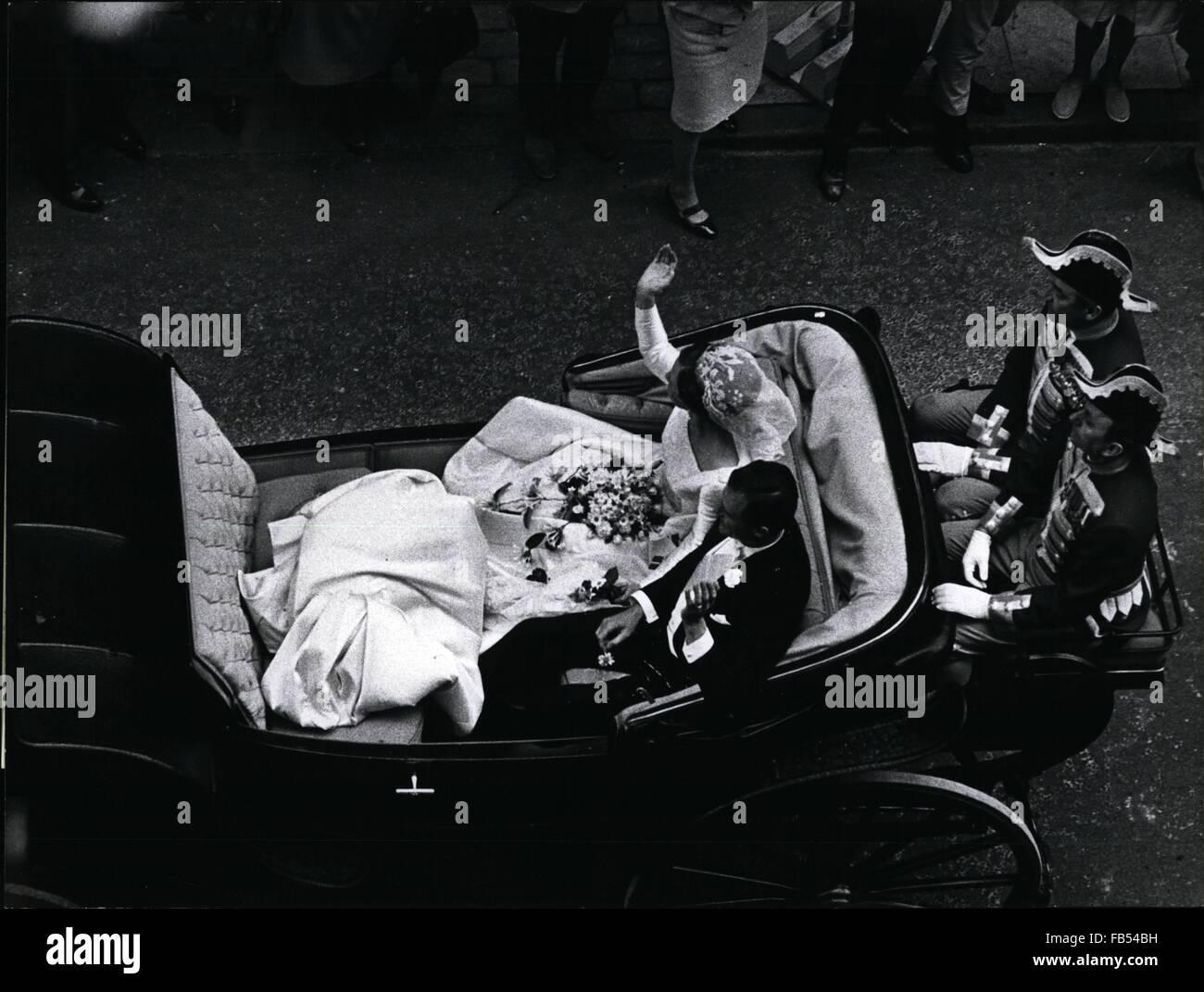 1964 - Royal Wedding In Copenhagen: Saturday June 10th. Heiress to Danish Throne, Princess Margrethe Alexandrine, - Stock Image