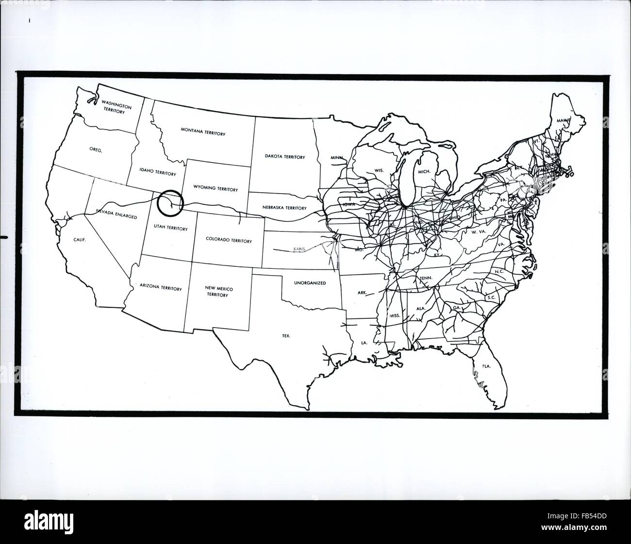 centennial of transcontinental railroad link up in us map shows railroad lines in the us in 1870 circle marks spot where transcontinental line met in