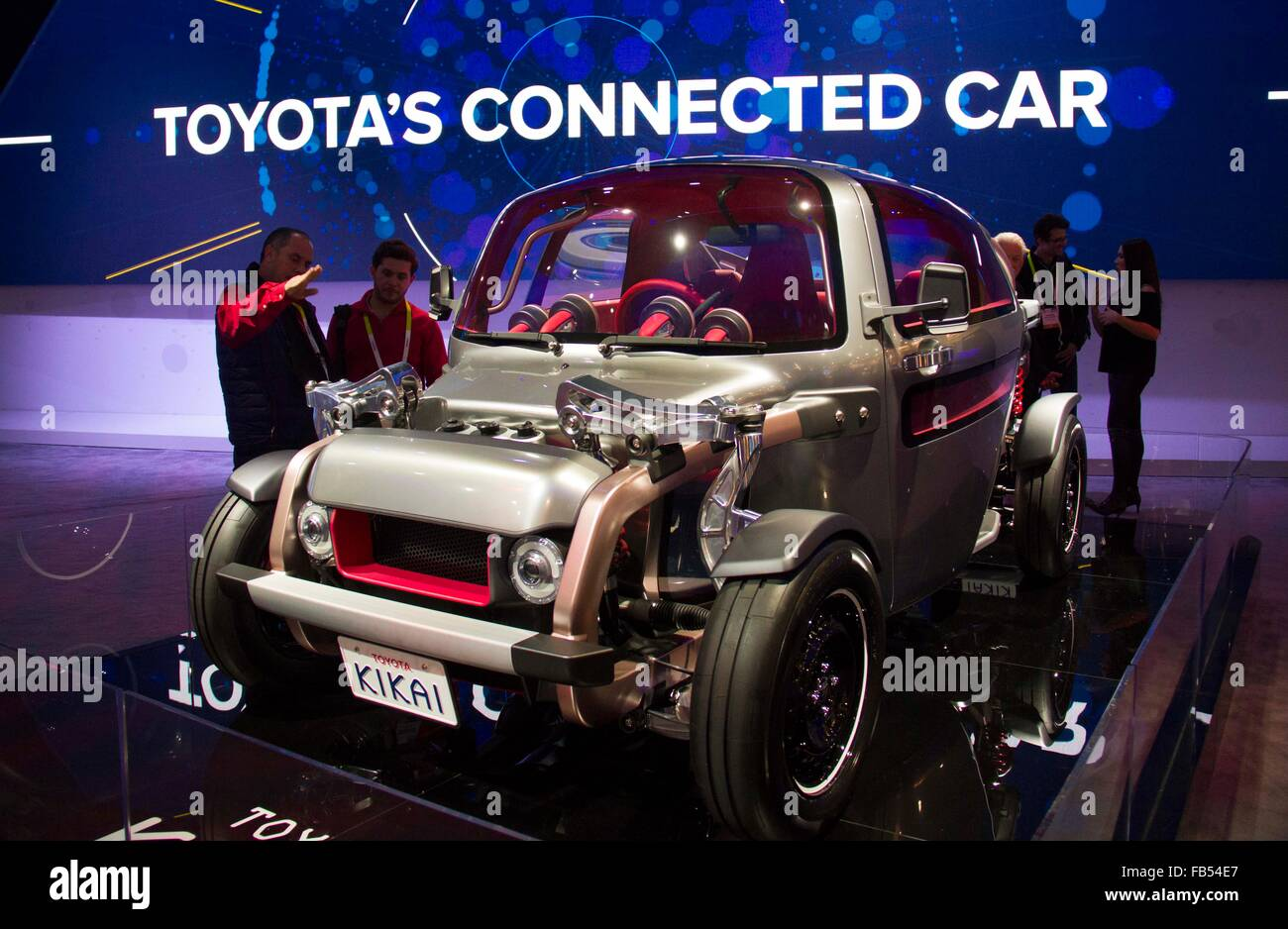Las Vegas, USA. 9th Jan, 2016. A Toyota's connected car is displayed during the CES in Las Vegas, Nevada, the United Stock Photo