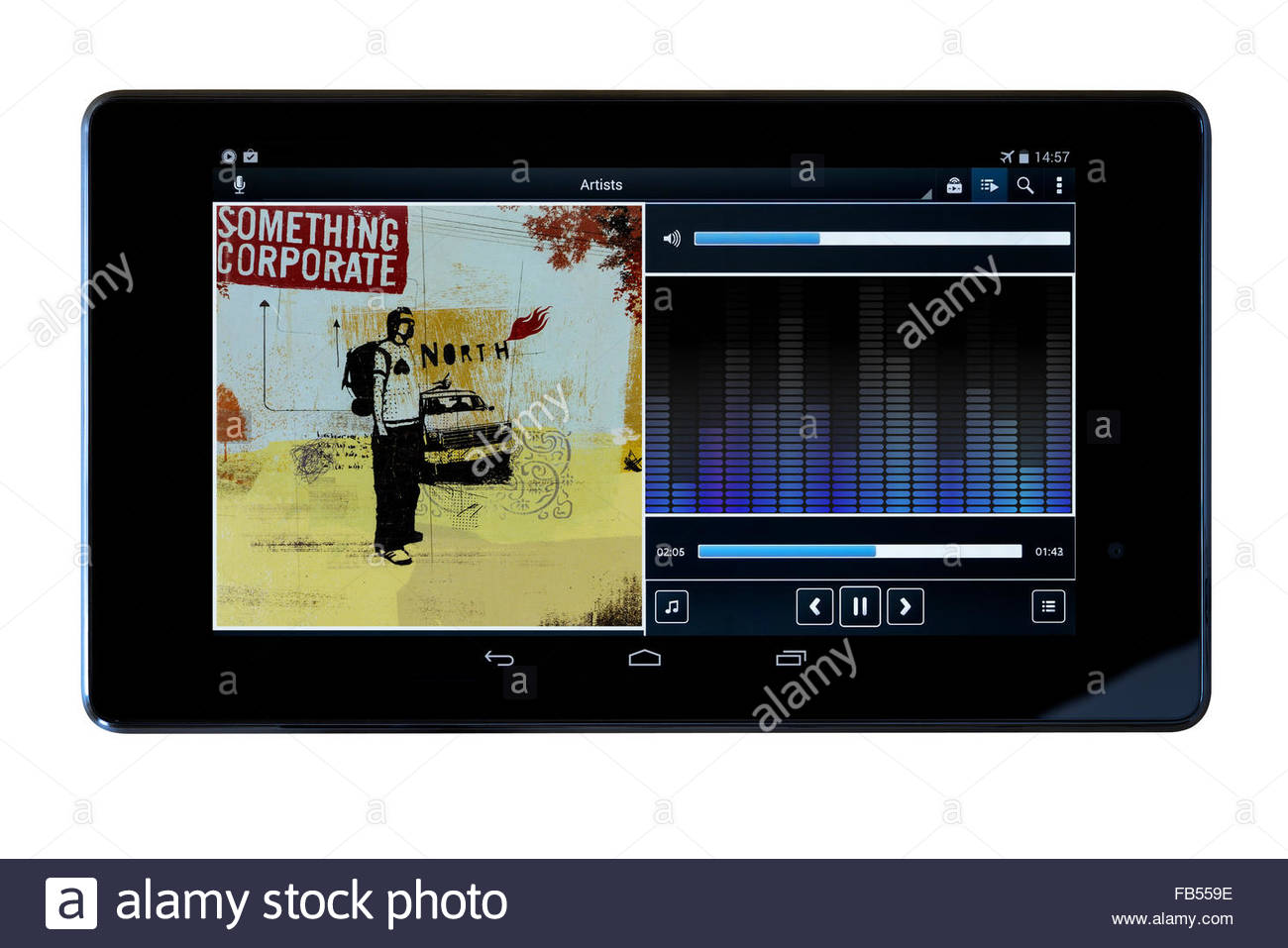 Something Corporate 2003 album North, MP3 album art on PC tablet, England - Stock Image