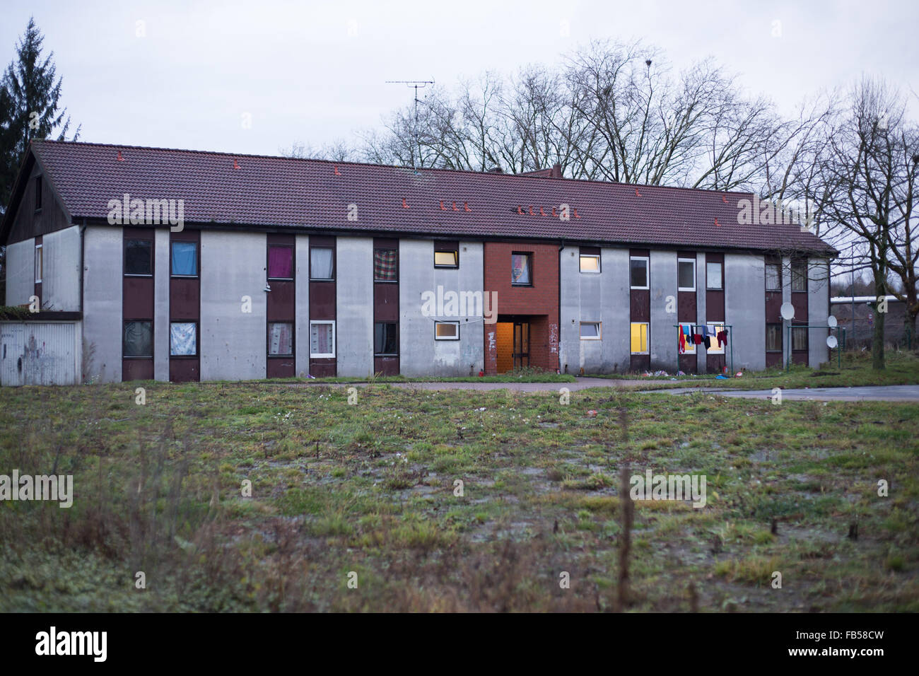 A view of an accommodation for refugees in Recklinghausen, Germany, 10 January 2016. North Rhine-Westphalia's - Stock Image