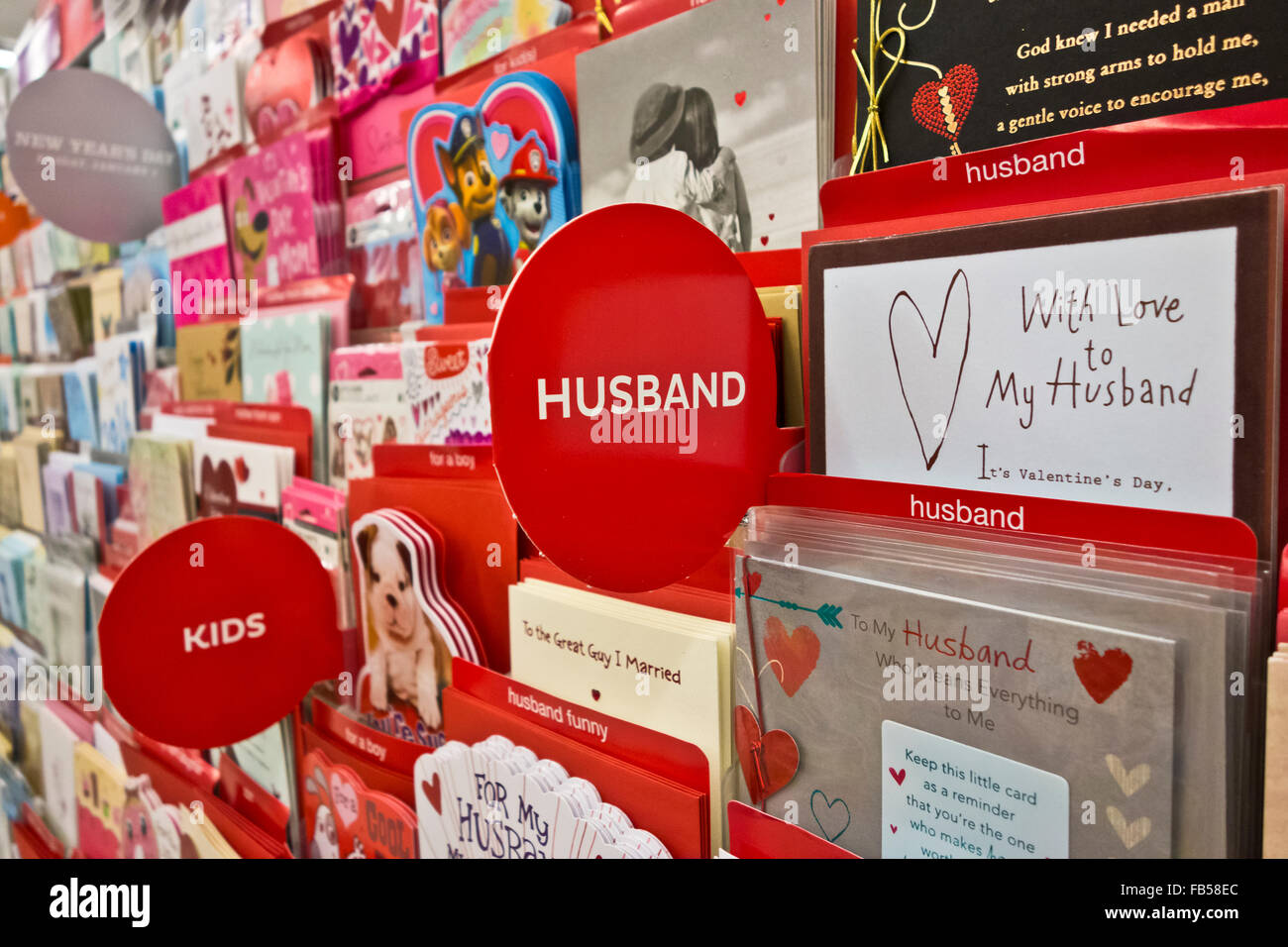 Store display of Valentine's cards for husbands and children.  Valentine card for husband and kids in the shop. - Stock Image