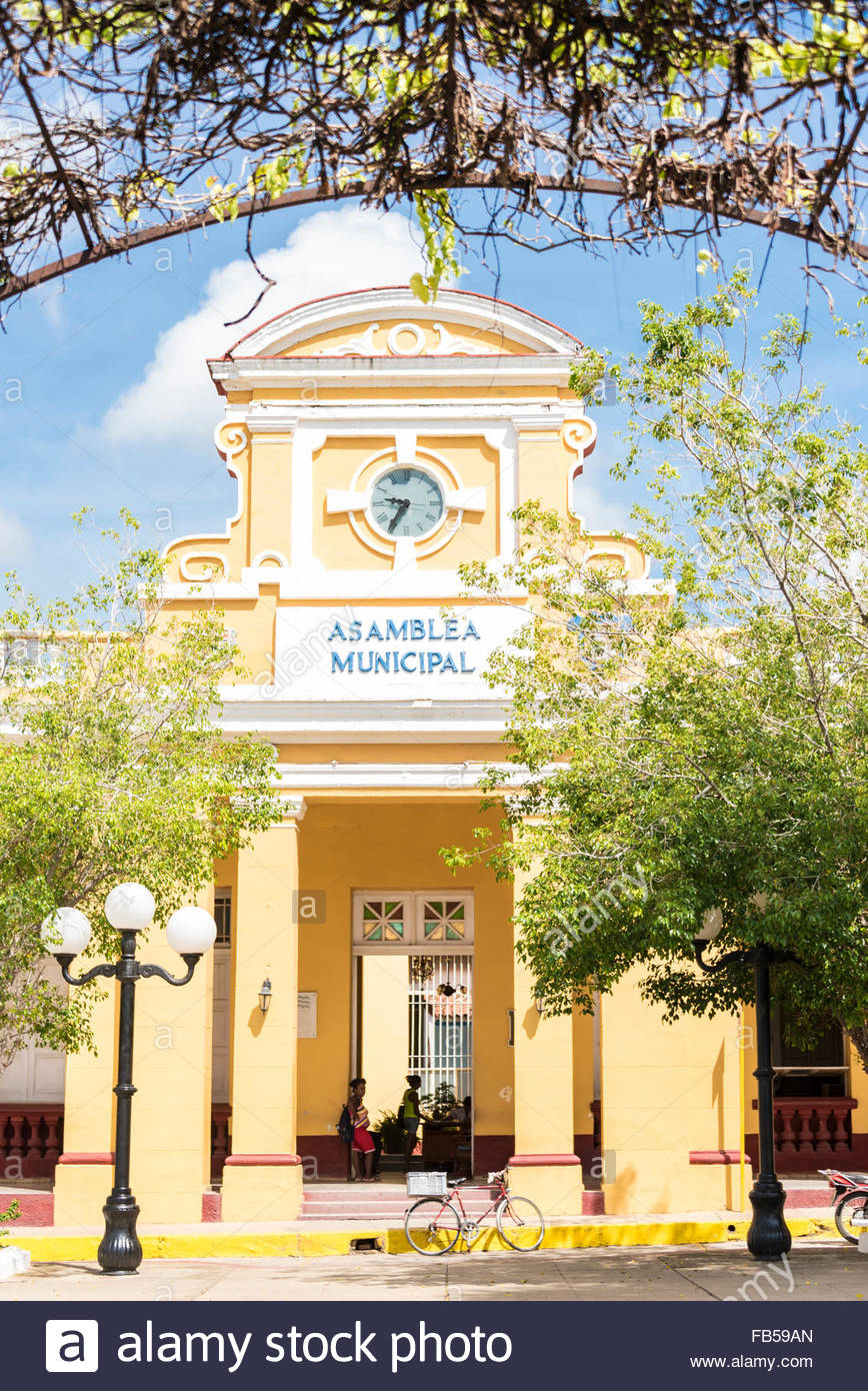 Sancti Spiritus City Hall or Municipal Popular Assembly building located in the city main plaza. The election of - Stock Image