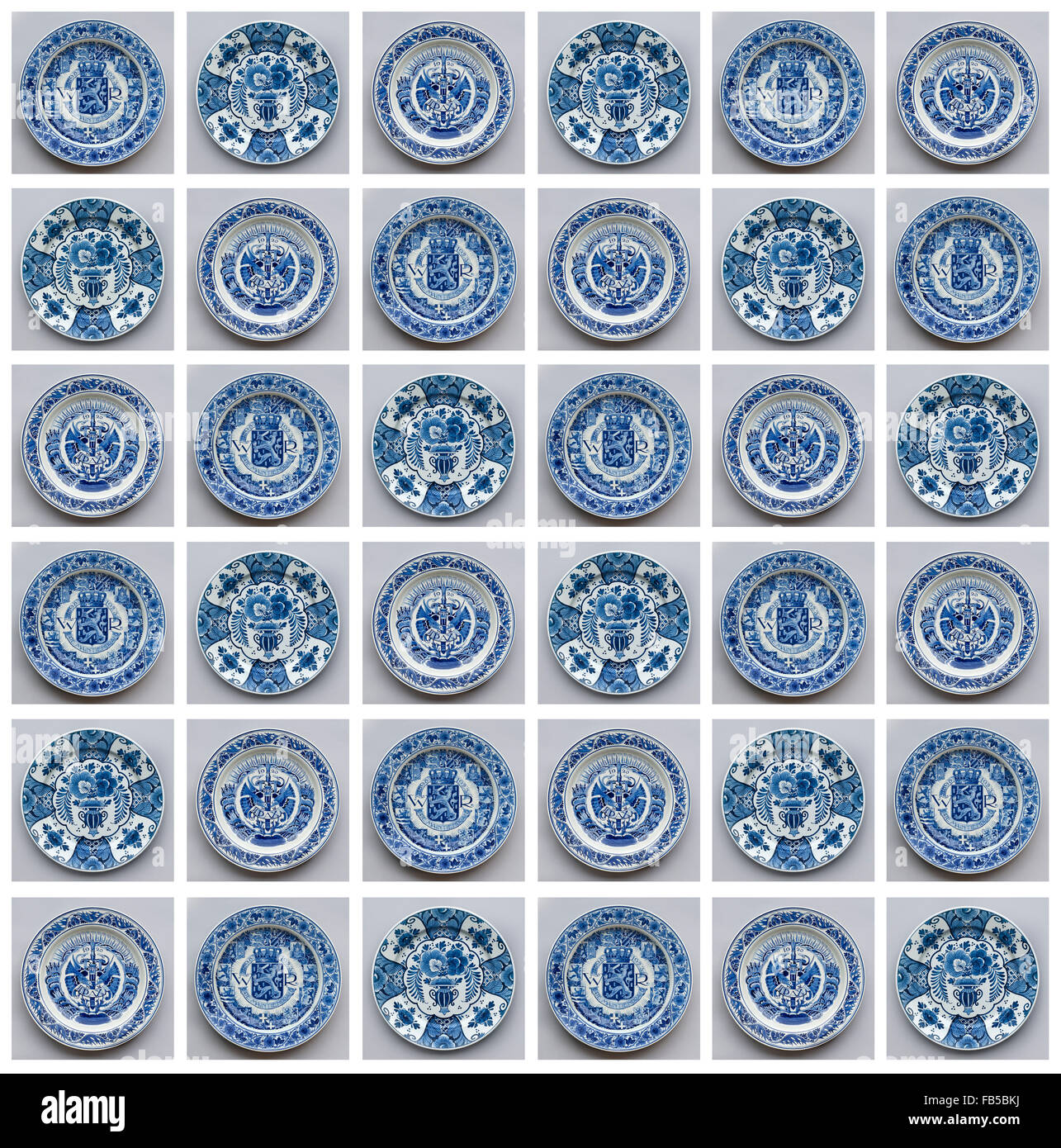 Photo collage of decorated old Delft blue wall plates Stock Photo ...