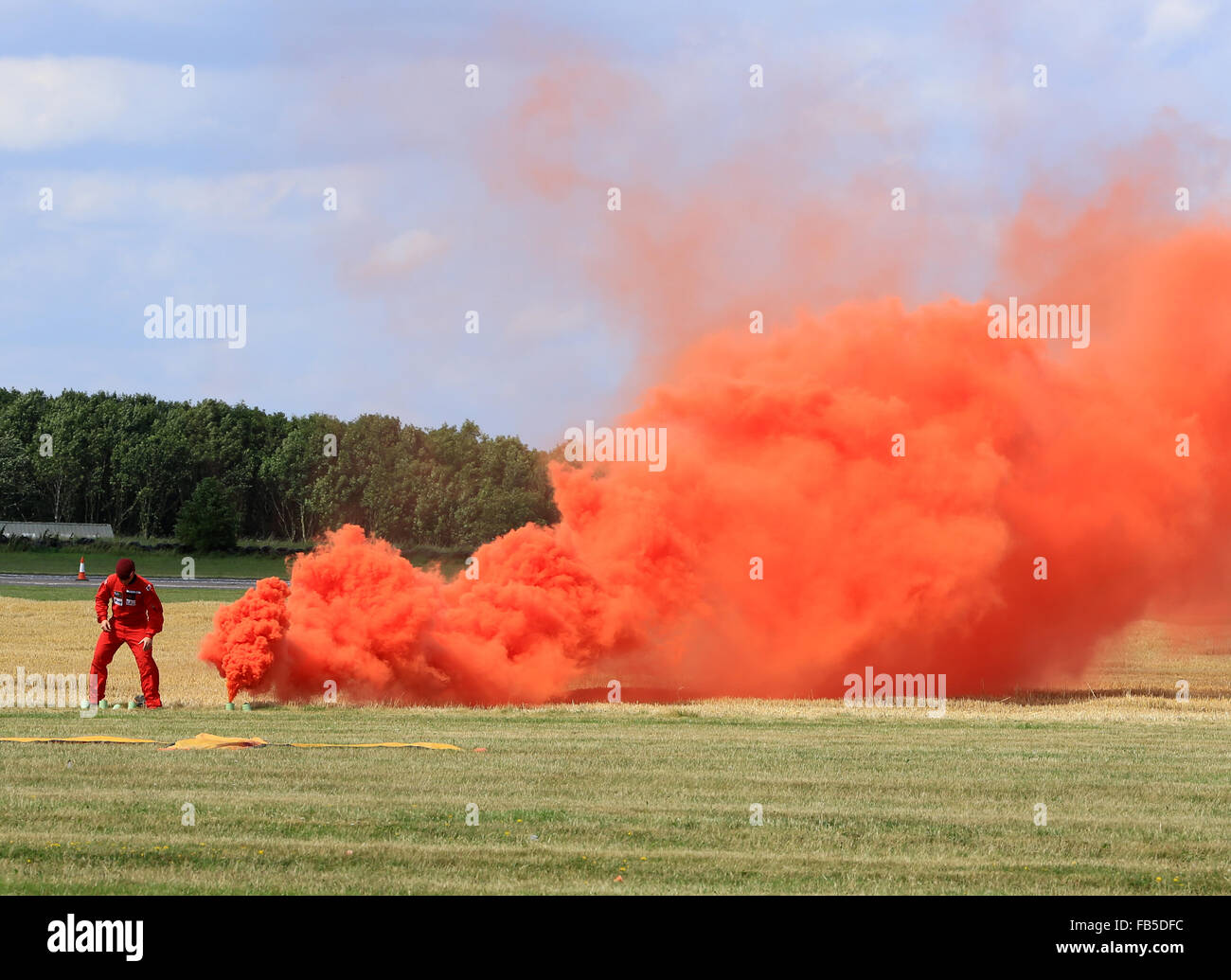 Preparations on the ground for the RAF Red Devils parachute jump at an air display - Stock Image