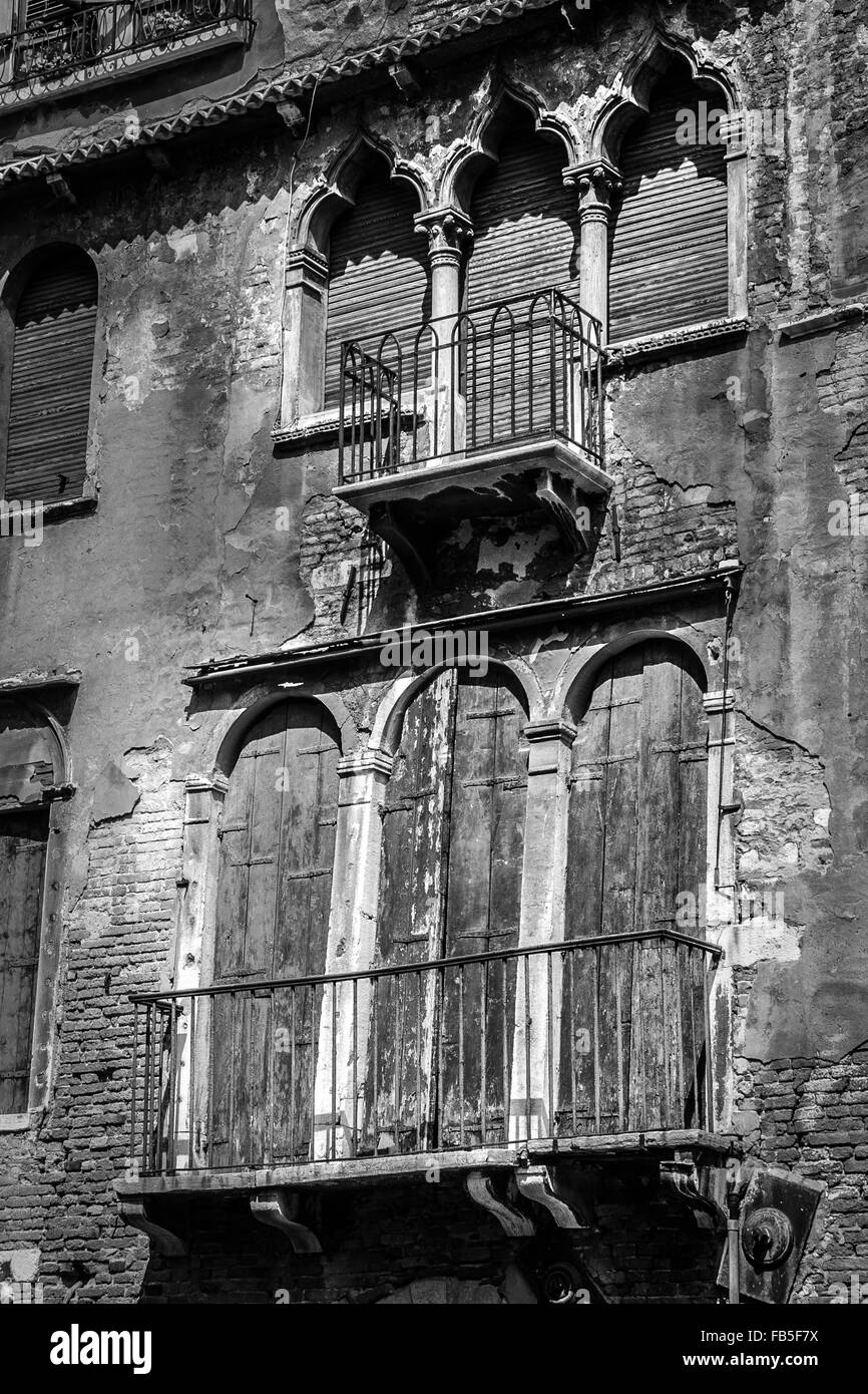Black and white of decrepit building in Venice Italy - Stock Image