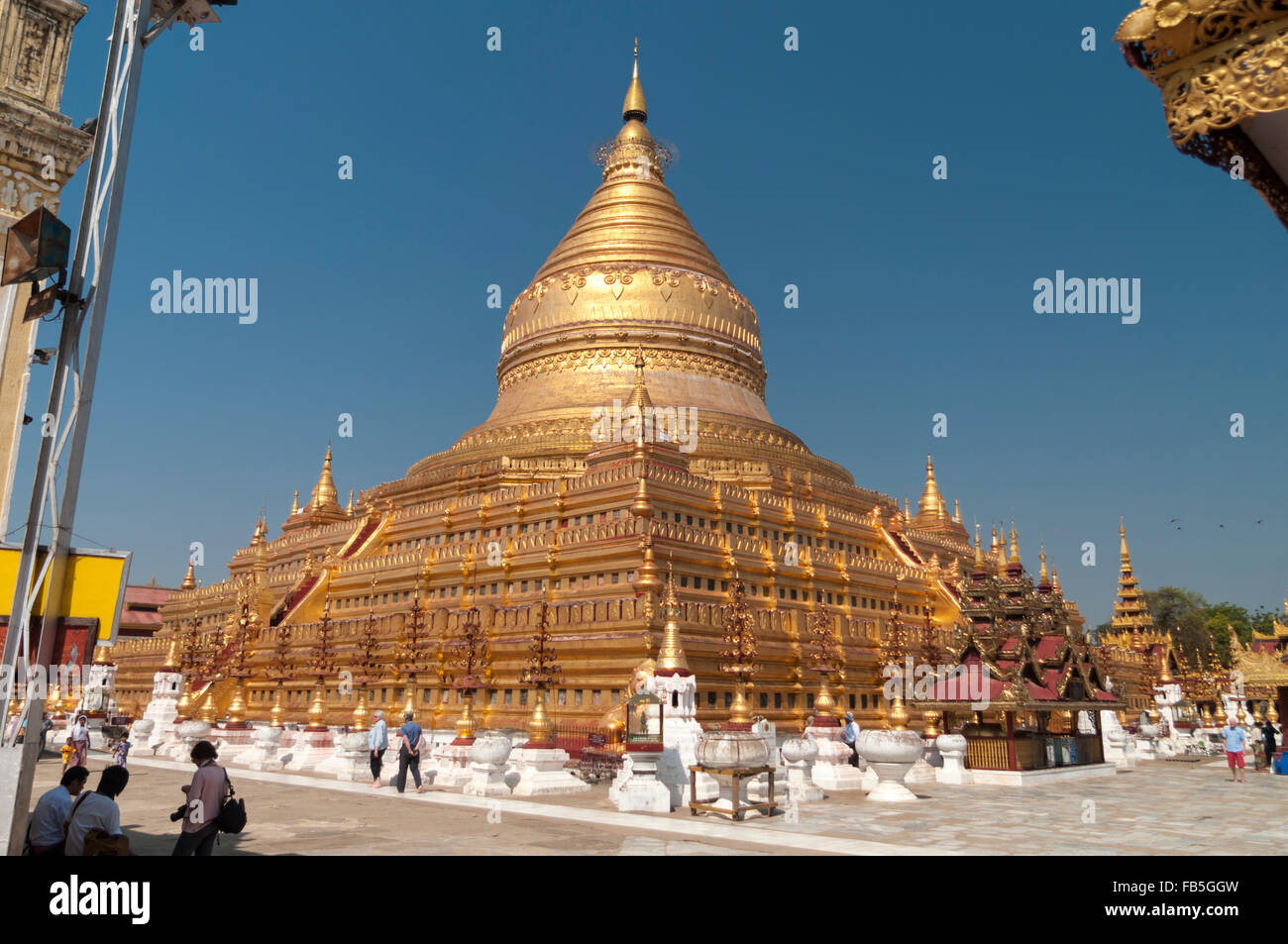 Main stupa of Shwezigon pagoda in Bagan, Mandalay Region, Myanmar. Stock Photo