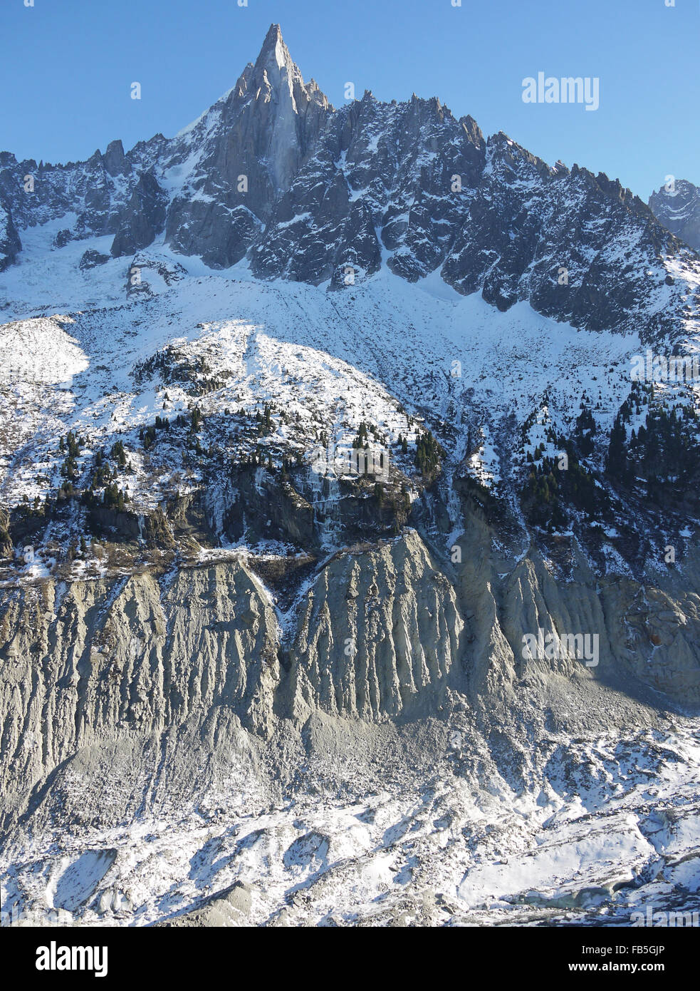 Le Dru mountain Chamonix showing the huge retreat of the glacier since 1890 as seen by the moraines - Stock Image