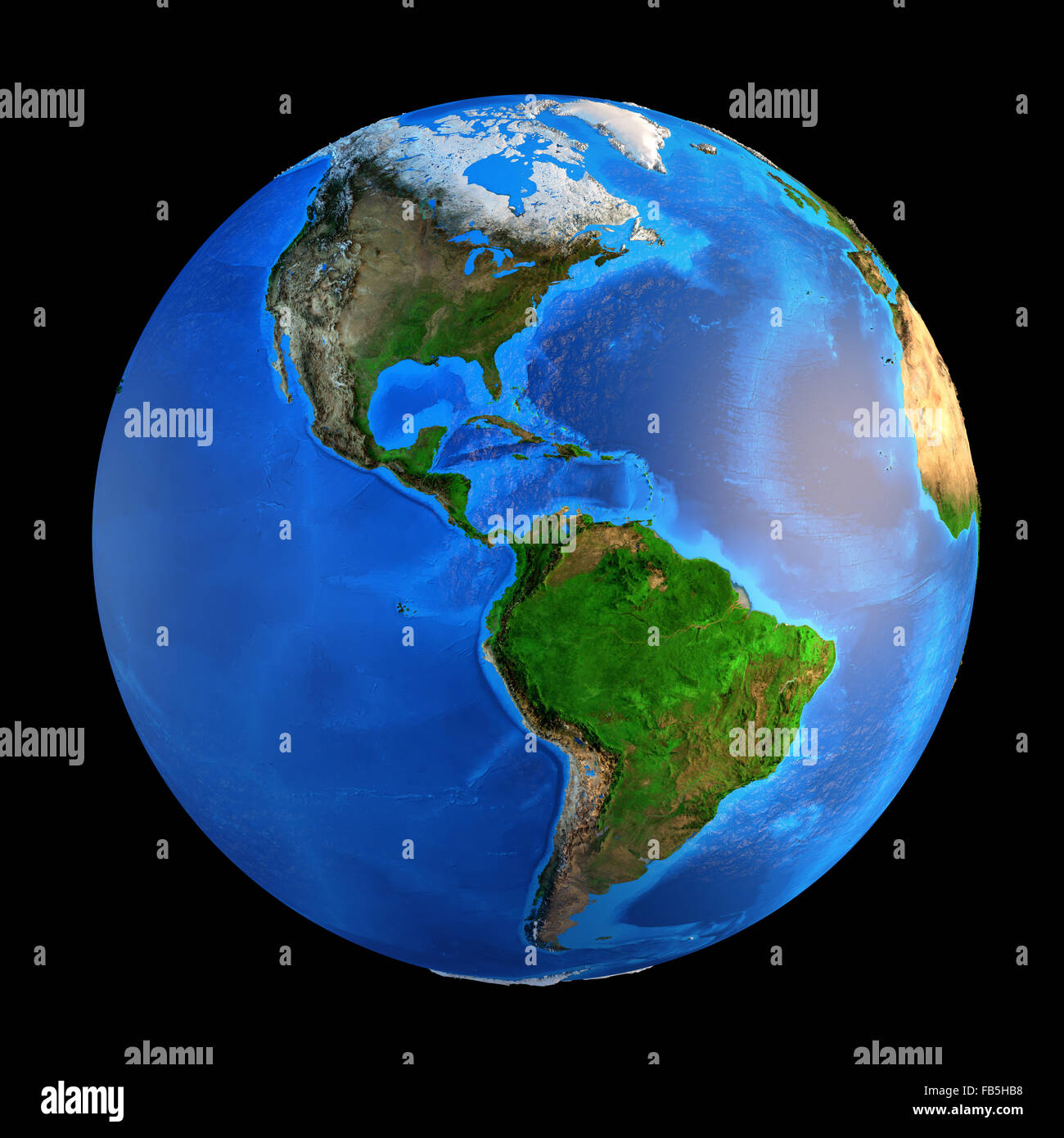 Detailed picture of the Earth and its landforms, isolated on black. Elements of this image furnished by NASA - Stock Image