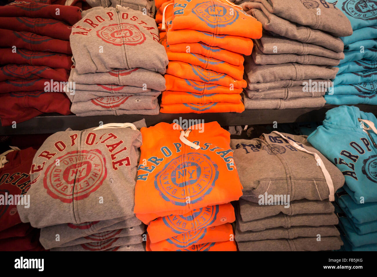 Aeropostale logo branded merchandise in their Times Square store in New York on Tuesday, January 5, 2016. (© - Stock Image