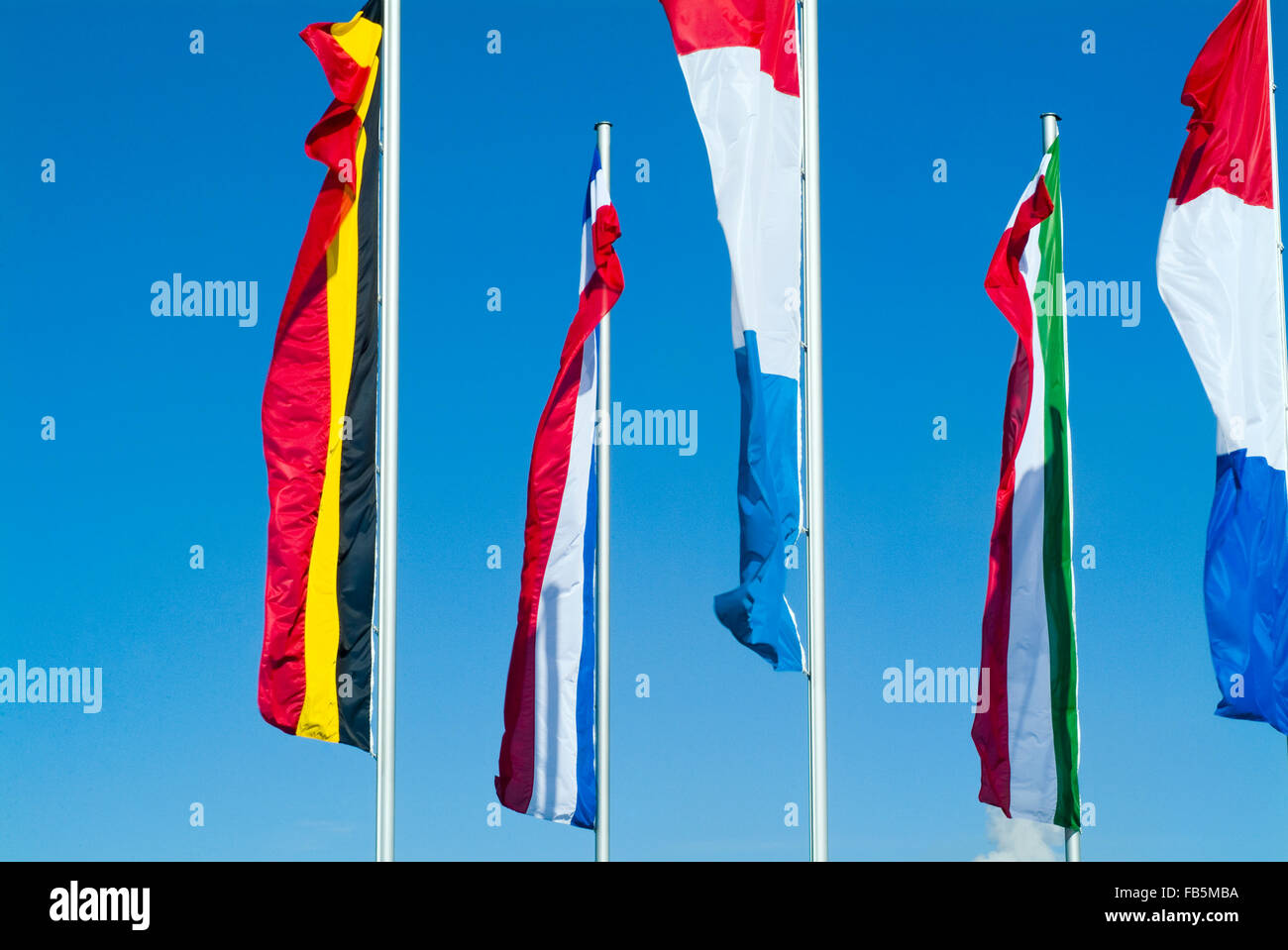 Flags of different european nations on a flagstaff Stock Photo
