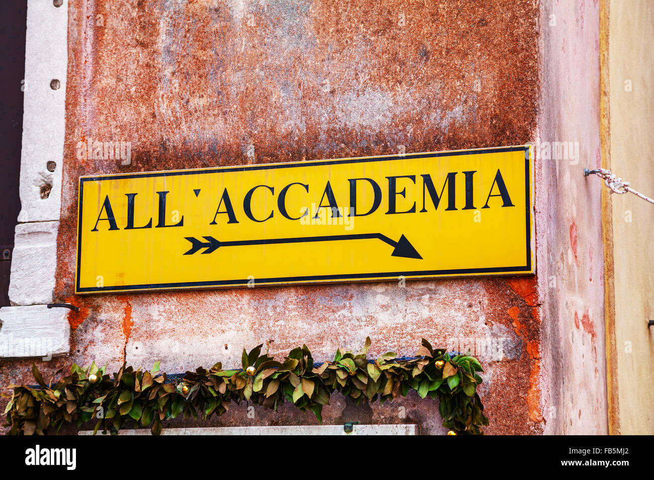 All Accademia direction sign in Venice, Italy - Stock Image