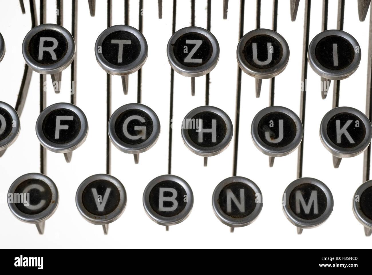Keys of an old typewriter - Stock Image