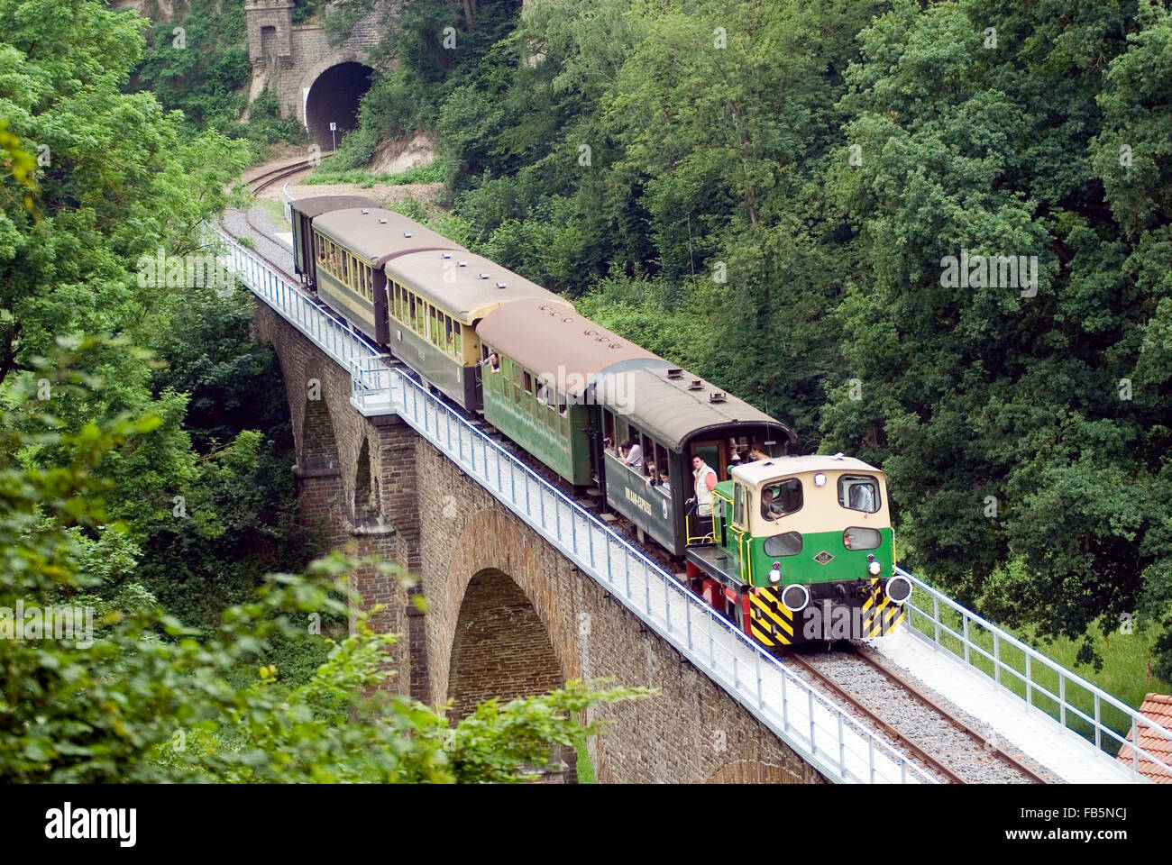 Steam Locomotive historic vulcan express in brohl valley rhineland-palatinate germany europe - Stock Image