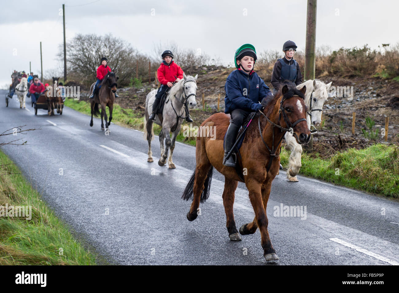 Drimoleague, Ireland. 10th January, 2016. A young rider controls his pony well during the Drimoleague to Drinagh - Stock Image