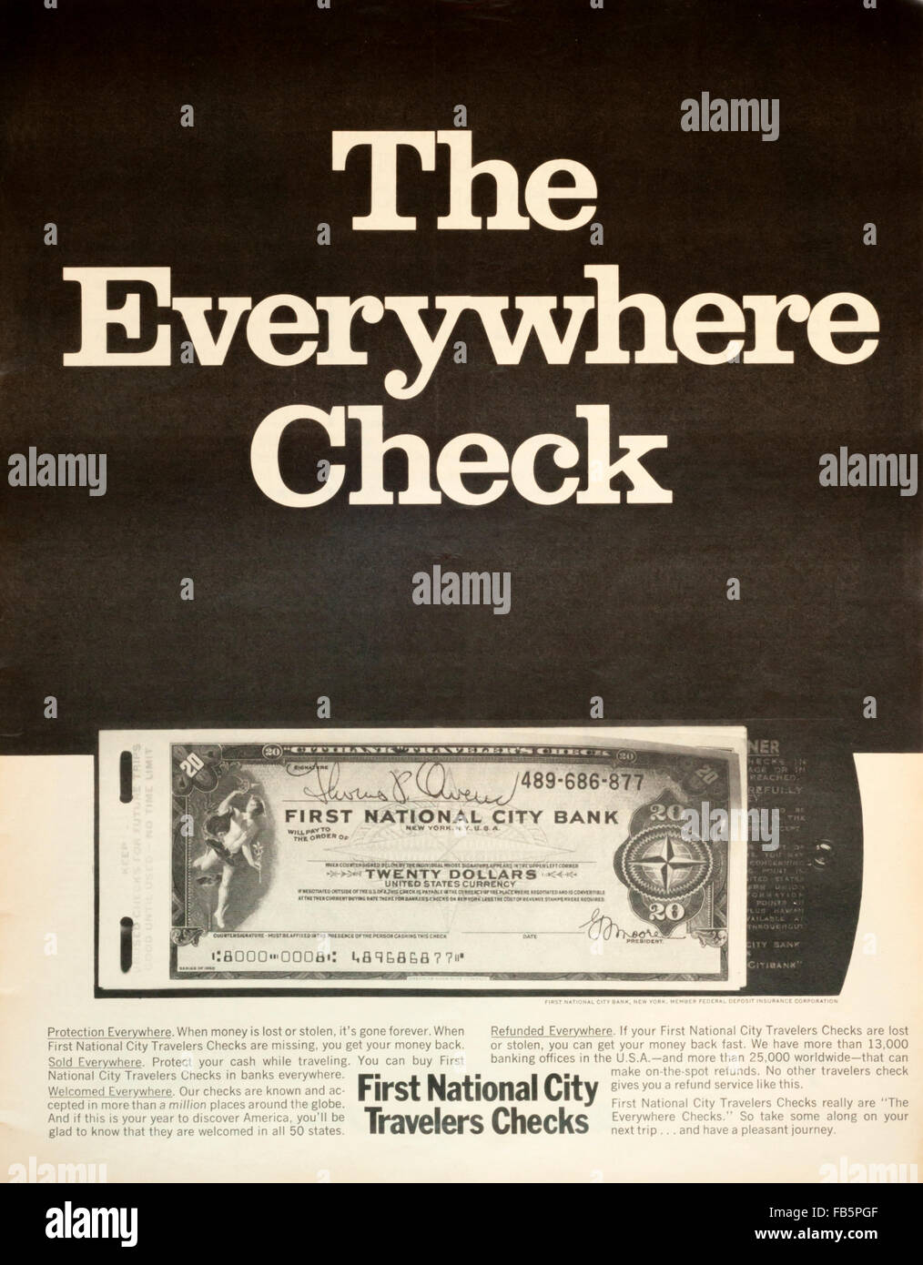 1960s magazine advertisement advertising First National City Bank Travellers Cheques or Travelers Checks. - Stock Image