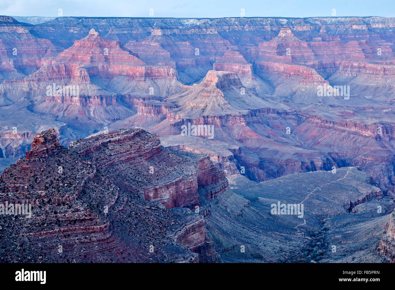 Rock formations and canyons from Rim Trail, The Village, Grand Canyon National Park, Arizona USA - Stock Image