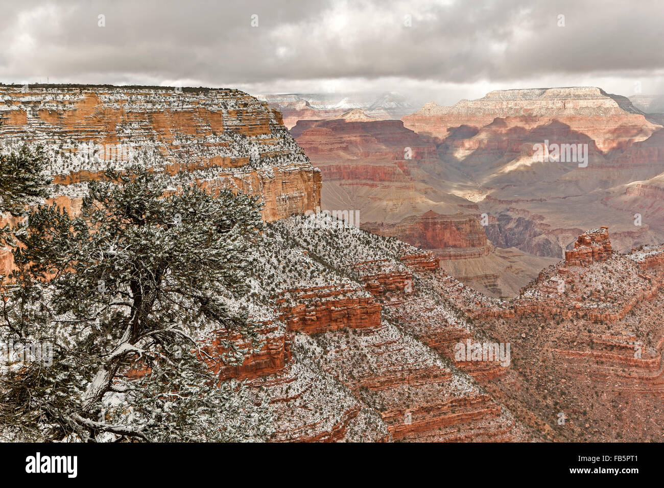 Snow-covered bluffs and canyons, from Rim Trail near the Village, Grand Canyon National Park, Arizona USA - Stock Image