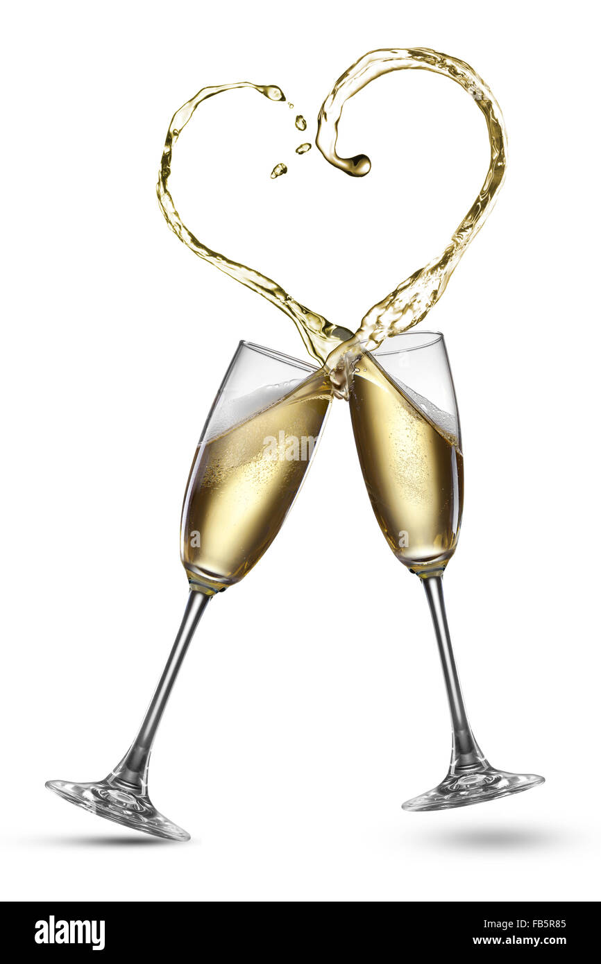 59c8cb6d4c5c Champagne splash in shape of heart isolated on white Stock Photo ...