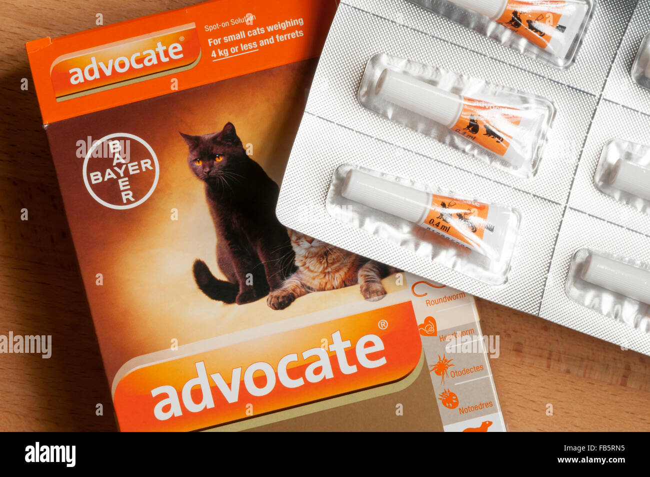 Advocate flea and worm treatment for small cats and ferrets. - Stock Image