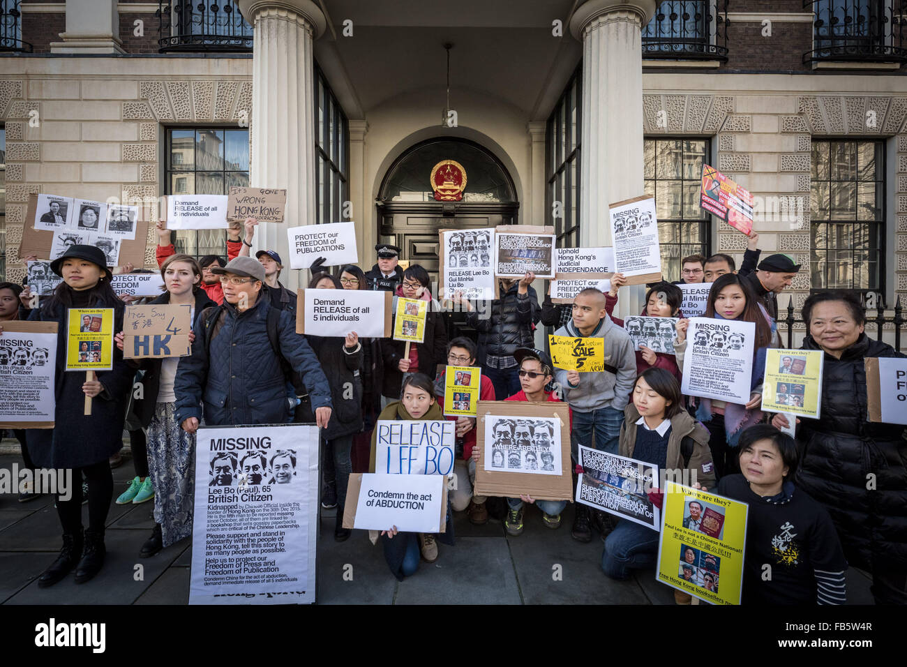 London, UK. 10th January, 2016. Protesters outside the London Chinese Embassy urging Hong Kongers to condemn China Stock Photo