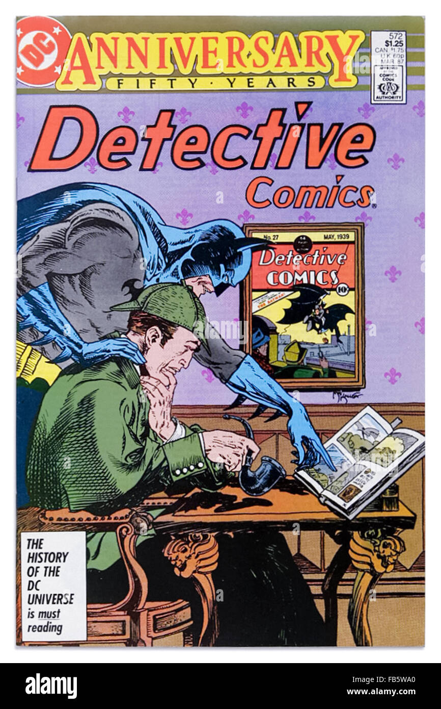 50th anniversary issue of 'Detective Comics' 'Sherlock Holmes' DC Comics, March 1987, featured a - Stock Image