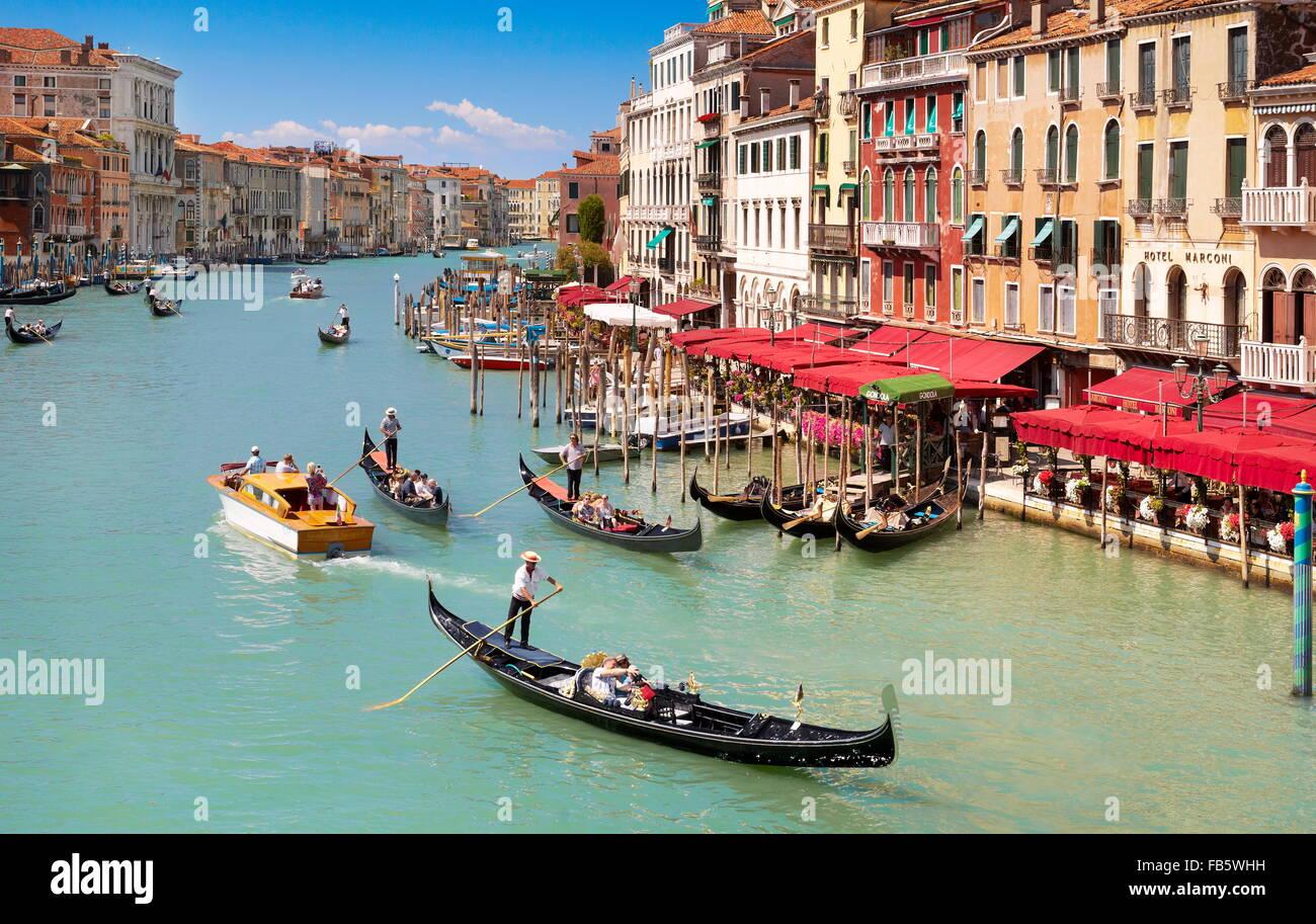 Gondola on the Grand Canal (Canal Grande), Venice, Veneto, Italy, UNESCO - Stock Image