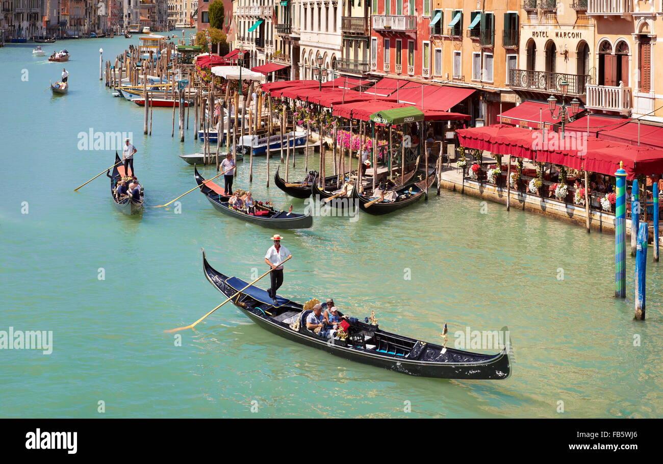 Gondola on the Grand Canal (Canal Grande), Venice, Italy, UNESCO - Stock Image