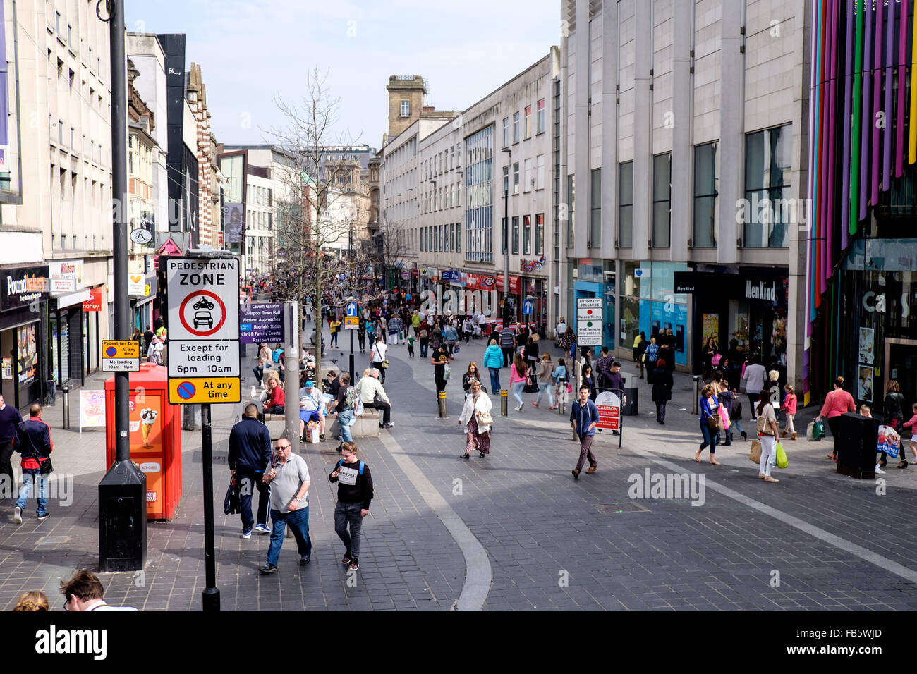 Lord Street pedestrianized shopping area, Liverpool, UK - Stock Image