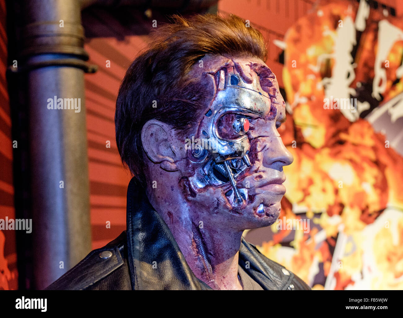 Arnold Schwarzenegger Terminator T-800 Model 101 waxwork at Madam Tussauds, London - Stock Image