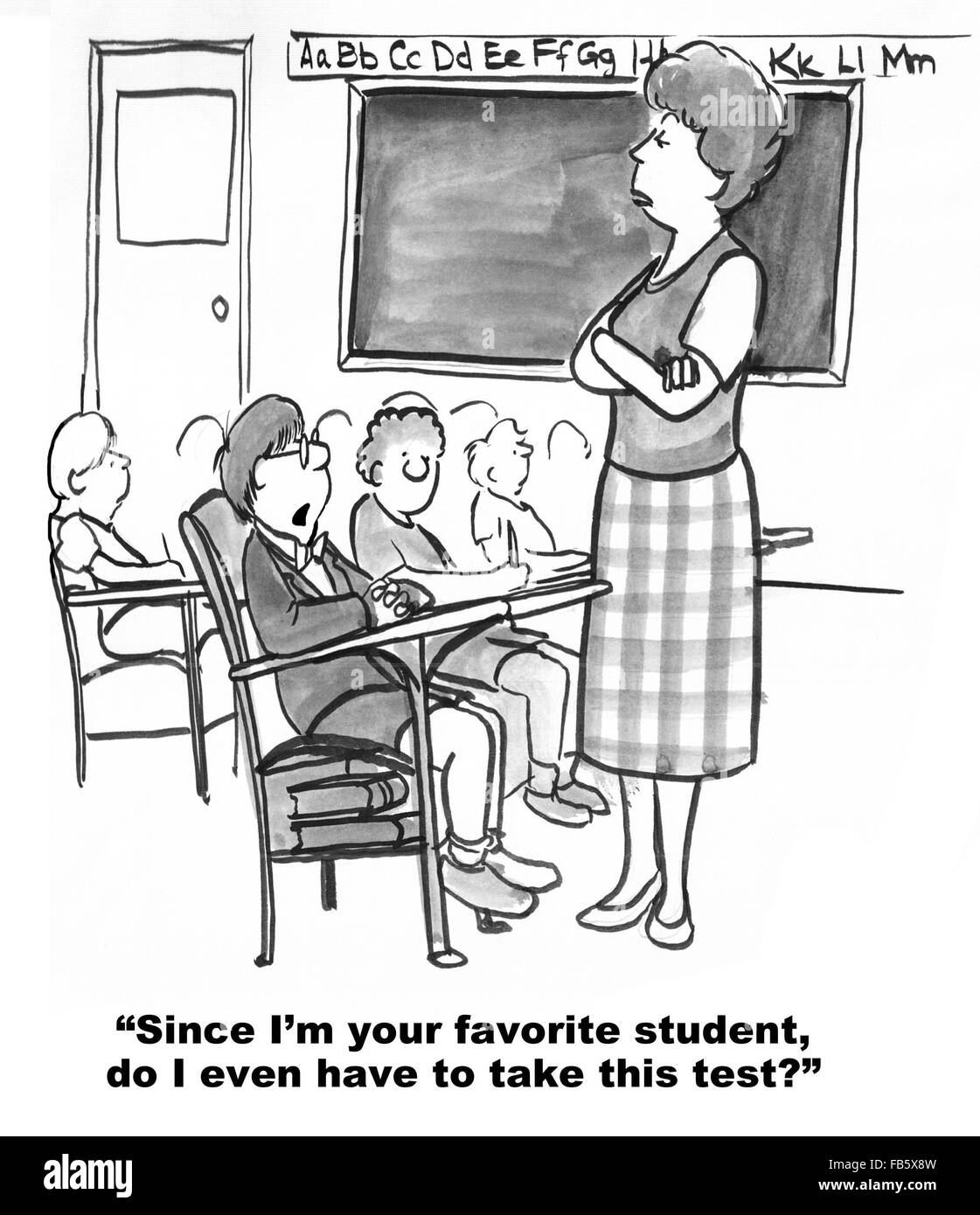Education cartoon.  The boy wonders if has to take the test since he is the teacher's favorite student. - Stock Image