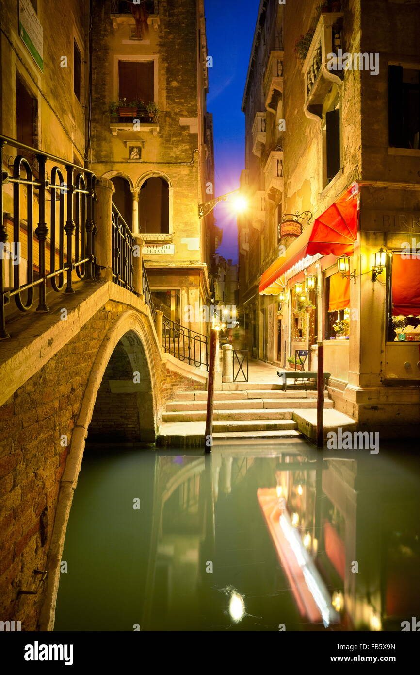 Venice at night, Veneto, Italy, UNESCO - Stock Image