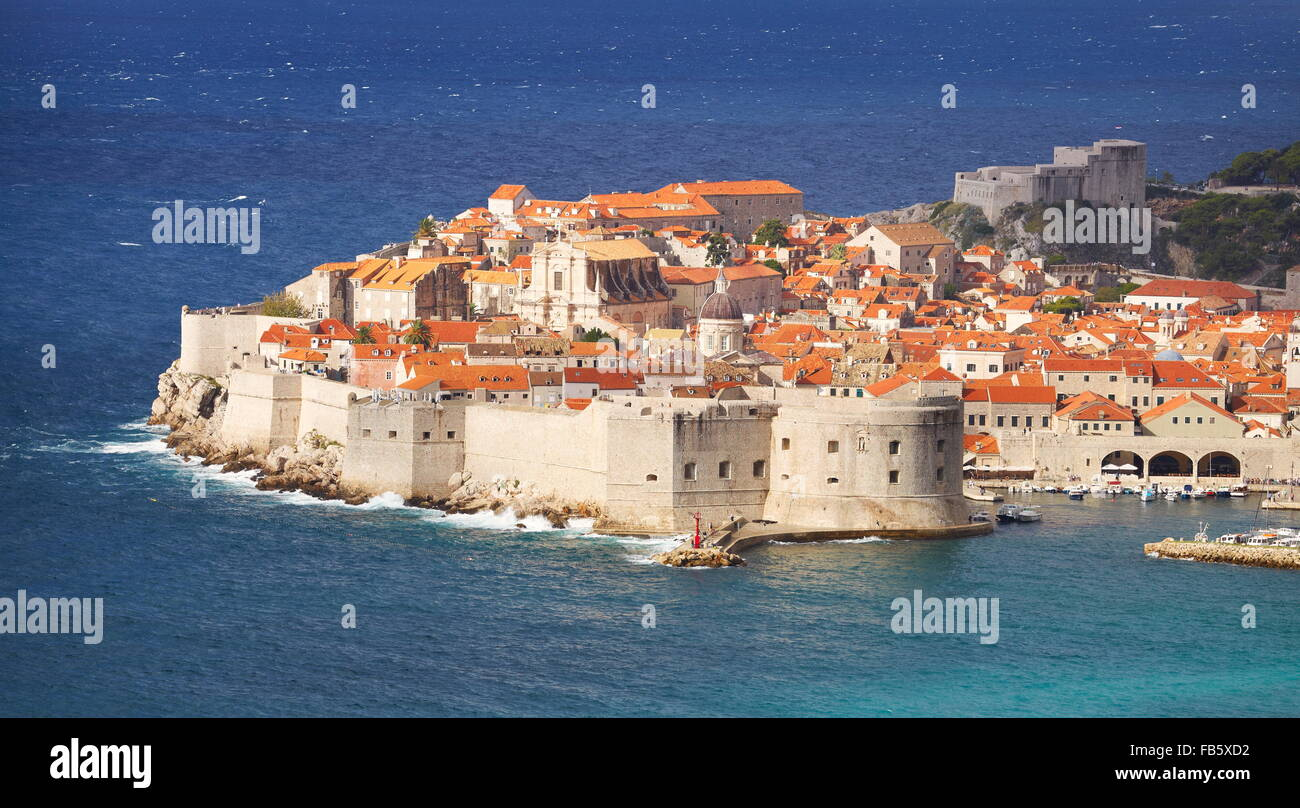 Dubrovnik Old Town, view at Harbour and City Walls, Croatia Stock Photo
