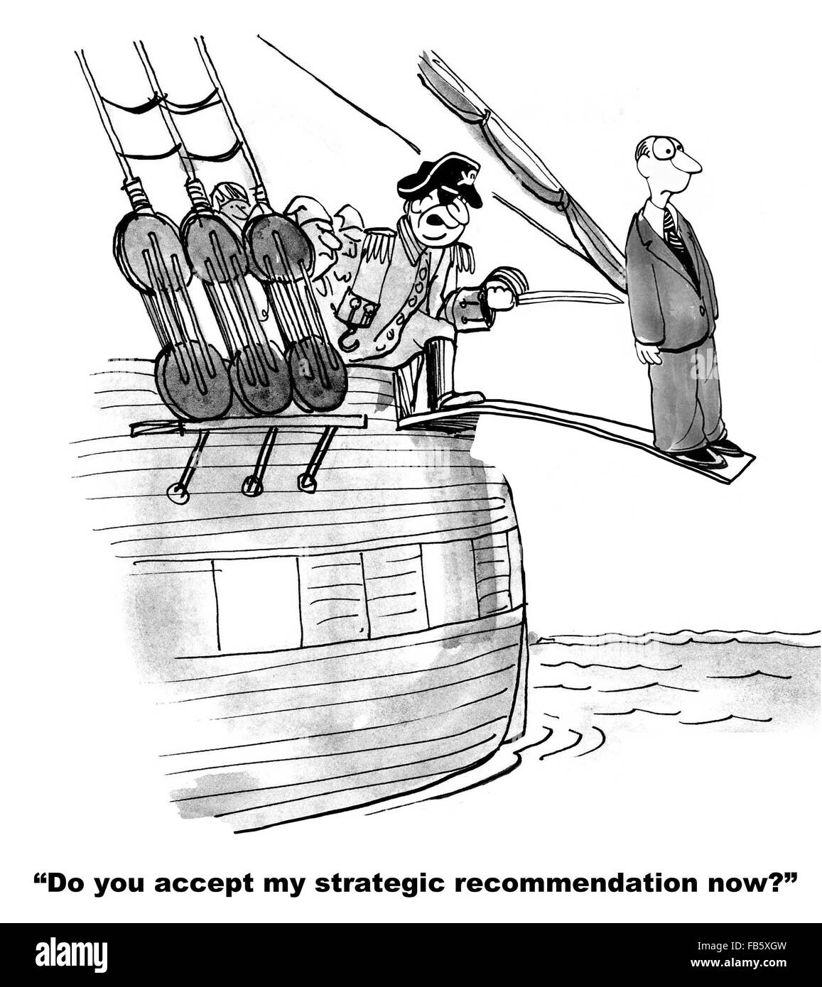 Business cartoon about conflict resolution.  The pirate is making him walk the plank because of his different point - Stock Image