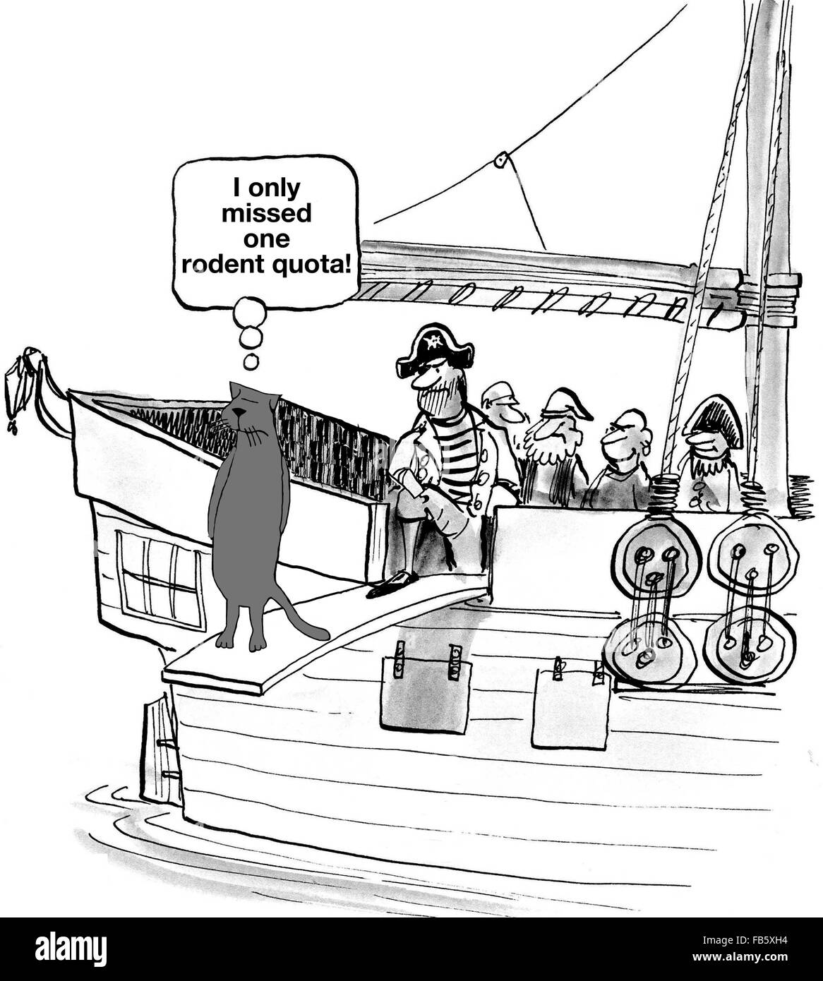 Business cartoon about sales.  The pirate is making the business cat walk the plank since he missed his quota. - Stock Image